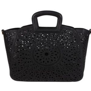 Melie Bianco Laser Cut Vegan LeatherTote bag